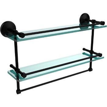 22'' Matte Black Hardware Shelf with Towel Bar
