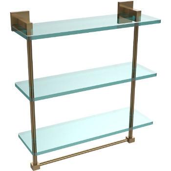 16'' Brushed Bronze Hardware Shelf with Towel Bar