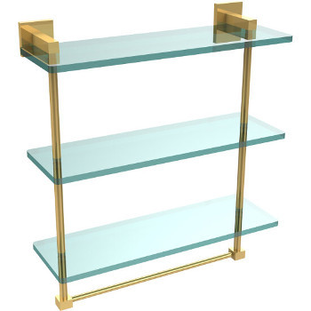 16'' Unlacquered Brass Hardware Shelf with Towel Bar