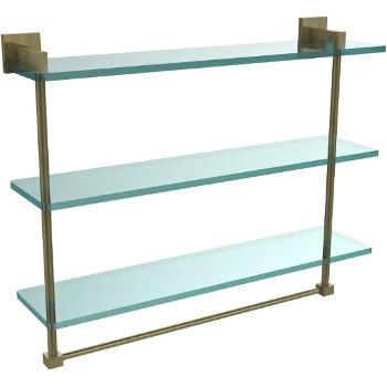 22'' Antique Brass Hardware Shelf with Towel Bar