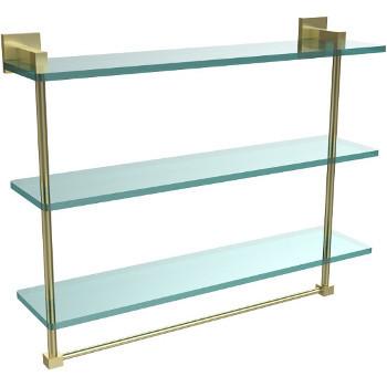 22'' Satin Brass Hardware Shelf with Towel Bar