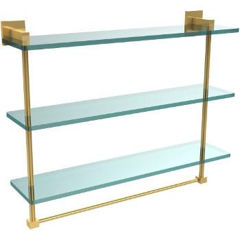 22'' Unlacquered Brass Hardware Shelf with Towel Bar
