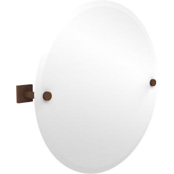 Circular Mirror with Antique Bronze Hardware