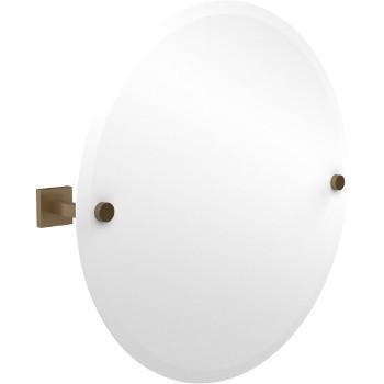 Circular Mirror with Brushed Bronze Hardware