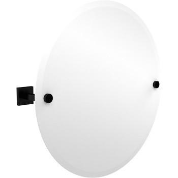 Circular Mirror with Matte Black Hardware