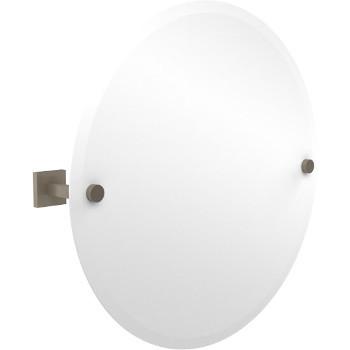 Circular Mirror with Pewter Hardware