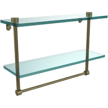 16'' Antique Brass Hardware Shelf with Towel Bar