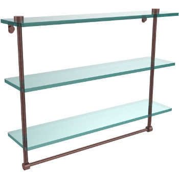 22'' Antique Copper Hardware Shelf with Towel Bar