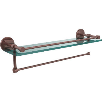 16'' Antique Copper Hardware Shelf with Paper Towel Roll Holder
