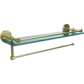 16'' Satin Brass Hardware Shelf with Paper Towel Roll Holder