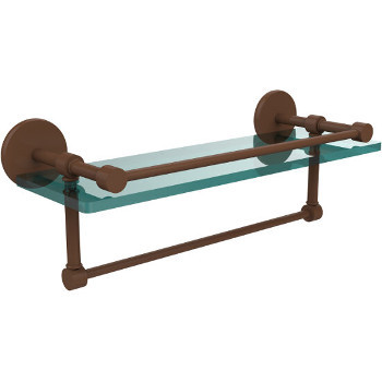 16'' Antique Bronze Hardware Shelf with Towel Bar