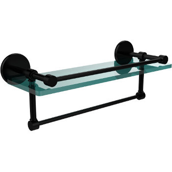 16'' Matte Black Hardware Shelf with Towel Bar