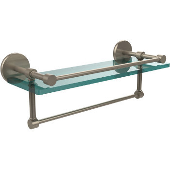 16'' Pewter Hardware Shelf with Towel Bar