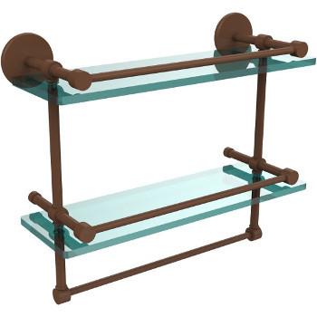 16'' Antique Bronze Hardware Shelves with Towel Bar