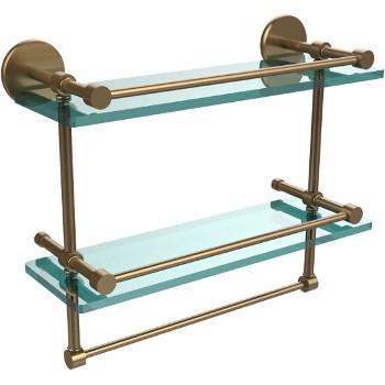 16'' Brushed Bronze Hardware Shelves with Towel Bar