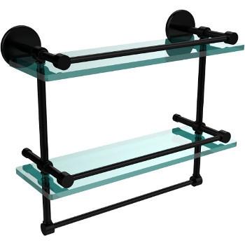16'' Matte Black Hardware Shelves with Towel Bar