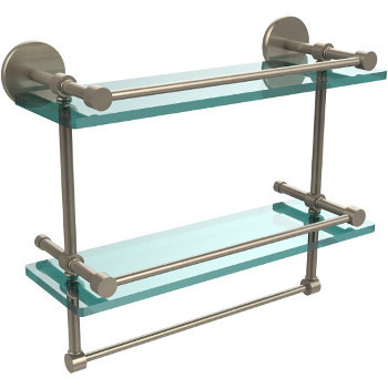 16'' Pewter Hardware Shelves with Towel Bar