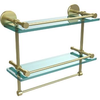 16'' Satin Brass Hardware Shelves with Towel Bar
