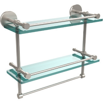 16'' Satin Nickel Hardware Shelves with Towel Bar