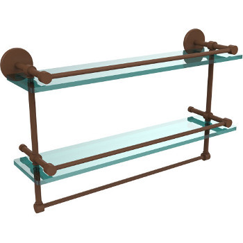 22'' Antique Bronze Hardware Shelves with Towel Bar