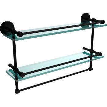 22'' Matte Black Hardware Shelves with Towel Bar