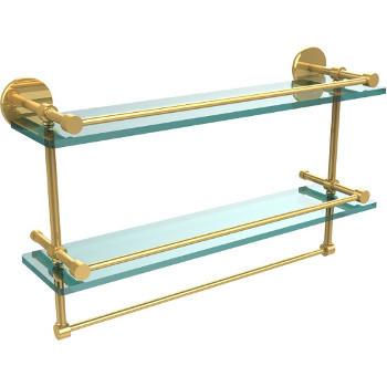 22'' Polished Brass Hardware Shelves with Towel Bar