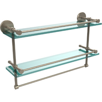 22'' Pewter Hardware Shelves with Towel Bar