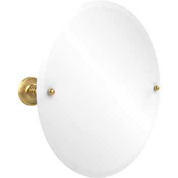 Circular Mirror with Polished Brass Hardware