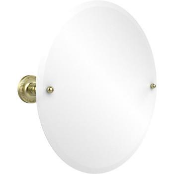 Circular Mirror with Satin Brass Hardware