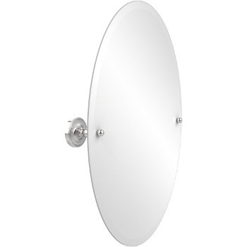 Oval Mirror with Polished Chrome Hardware