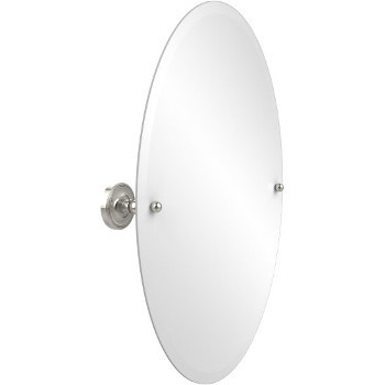 Oval Mirror with Polished Nickel Hardware
