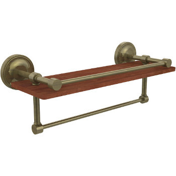 16'' Shelves with Antique Brass and Towel Bar
