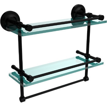 16'' Shelves with Matte Black and Towel Bar