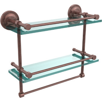 16'' Shelves with Antique Copper and Towel Bar