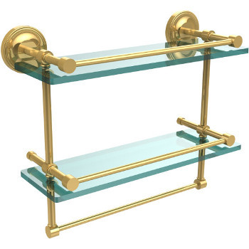 16'' Shelves with Polished Brass and Towel Bar