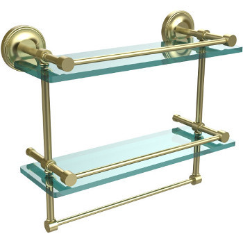 16'' Shelves with Satin Brass and Towel Bar