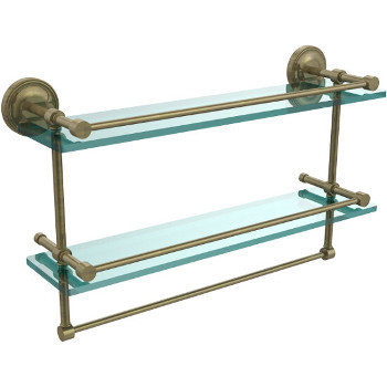 22'' Shelves with Antique Brass and Towel Bar
