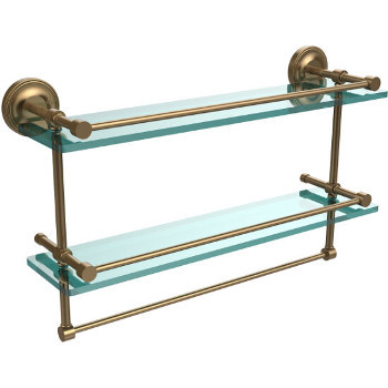 22'' Shelves with Brushed Bronze and Towel Bar