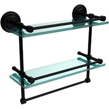 16'' Shelves with Matte Black and Towel Bar Hardware