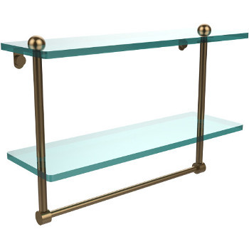 16'' Shelves with Brushed Bronze and Towel Bar Hardware