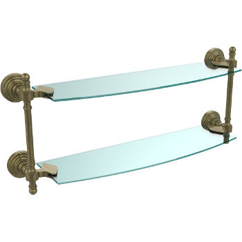 Bathroom Accessories Retro Wave Double Glass Shelves Available In Standard Premium Finishes By Allied Brass Kitchensource Com