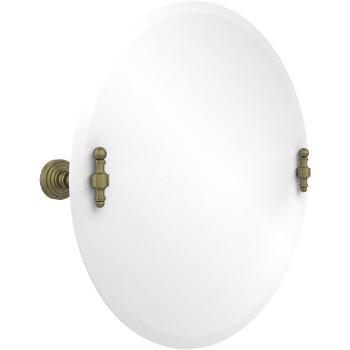 Circular Mirror with Antique Brass Hardware