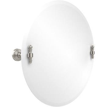 Circular Mirror with Polished Nickel Hardware