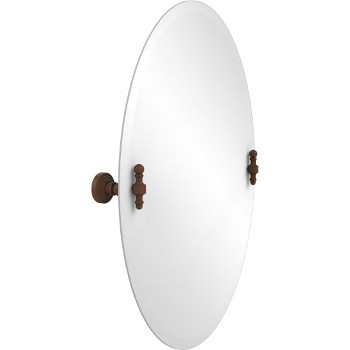 Oval Mirror with Antique Bronze Hardware