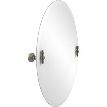 Oval Mirror with Pewter Hardware