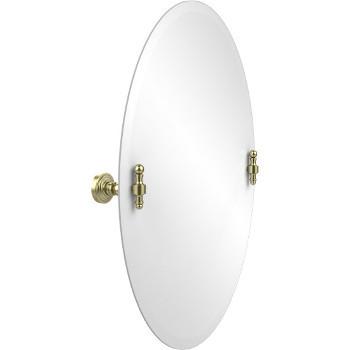 Oval Mirror with Satin Brass Hardware
