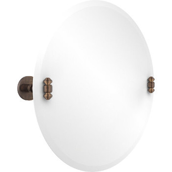 Circular Mirror with Venetian Bronze Hardware