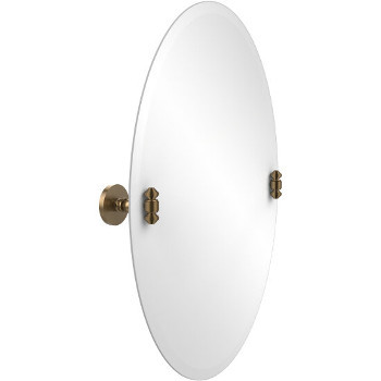 Oval Mirror with Brushed Bronze Hardware