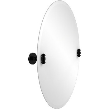 Oval Mirror with Matte Black Hardware