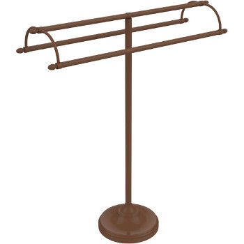 Allied Brass 973D-SN Vanity Top 3 Swing Arm Guest Towel Holder with Dotted Accents Satin Nickel